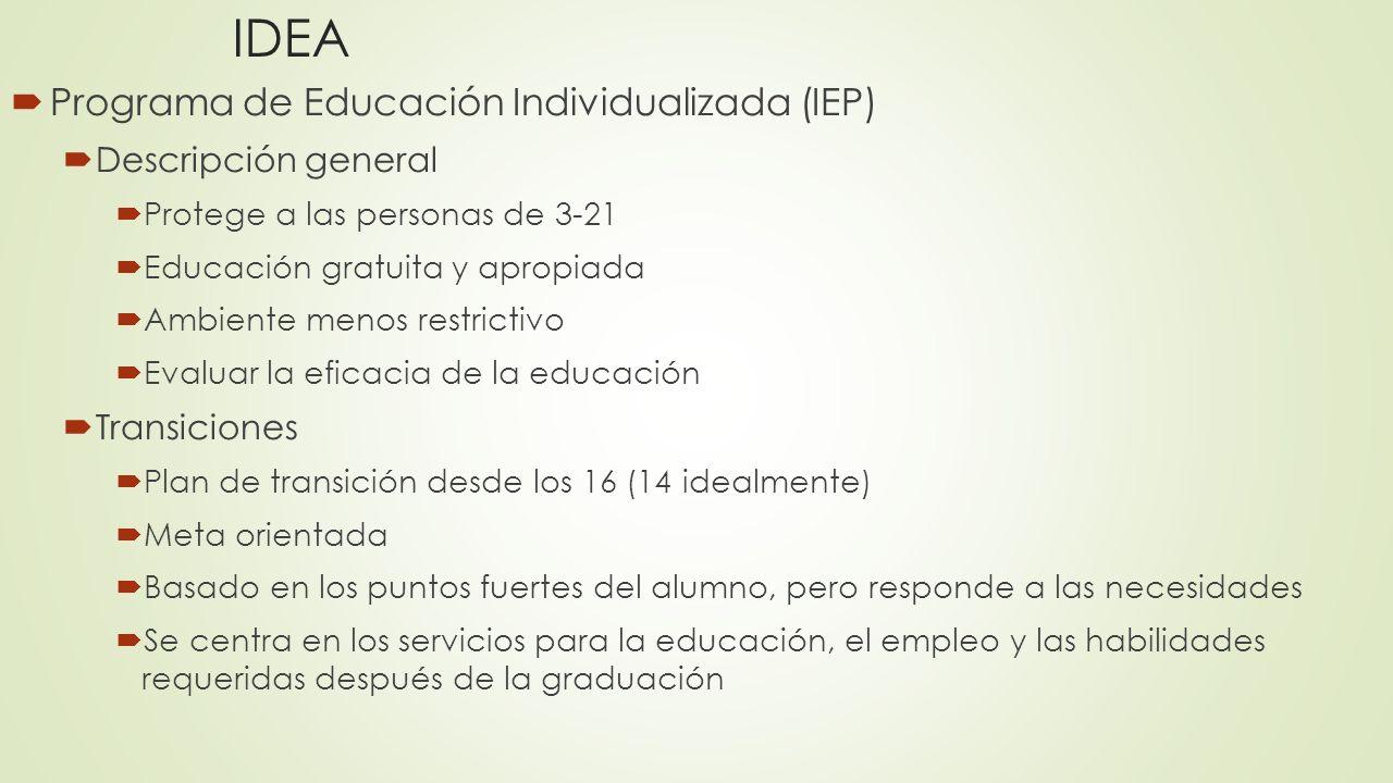 IDEA Programa de Educación Individualizada (IEP) Descripción general Protege a las personas de 3-21 Educación gratuita y apropiada Ambiente menos rest