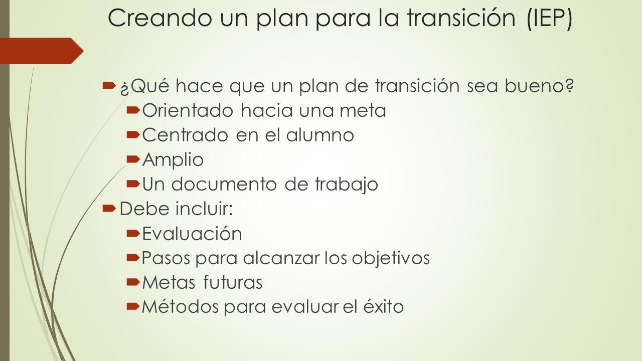 Creando un plan para la transición (IEP) ¿Qué hace que un plan de transición sea bueno? Orientado hacia una meta Centrado en el alumno Amplio Un docum