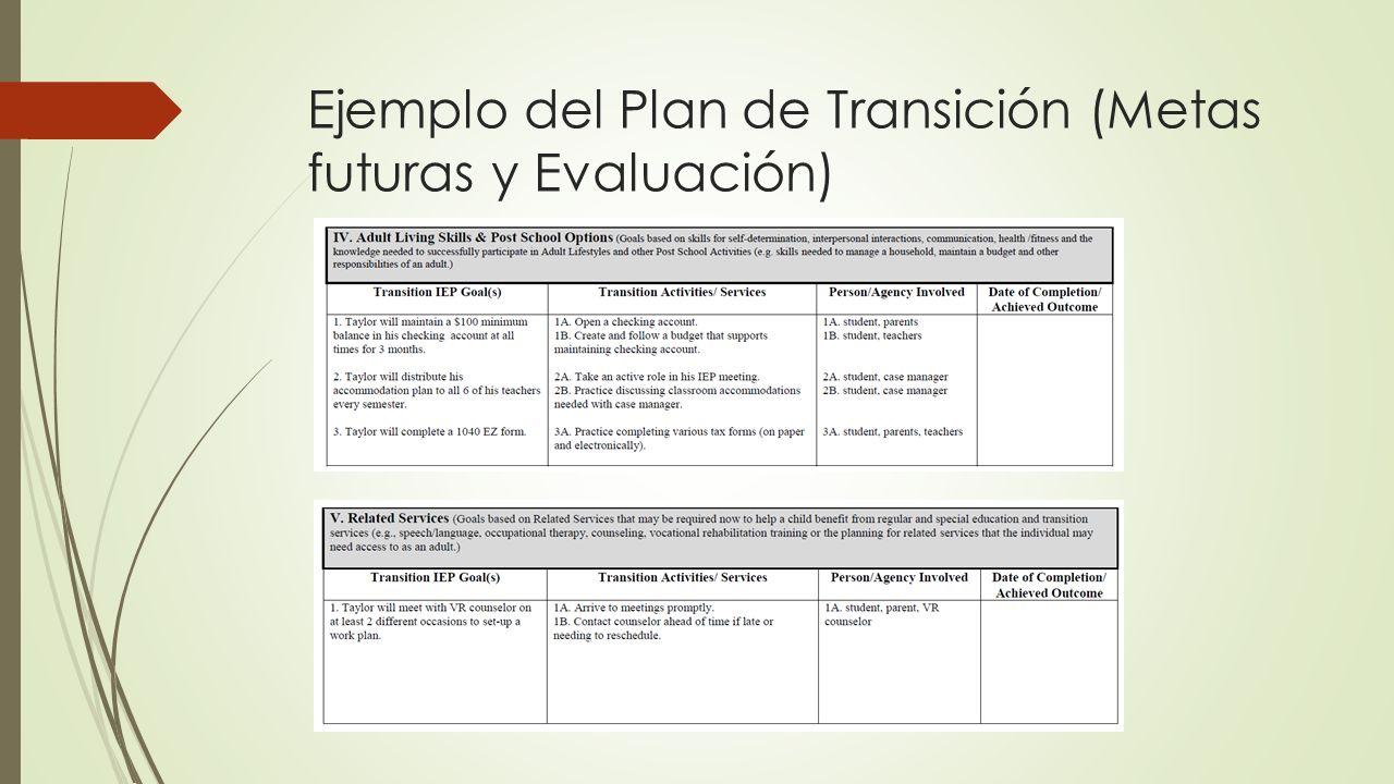 Ejemplo del Plan de Transición (Metas futuras y Evaluación)