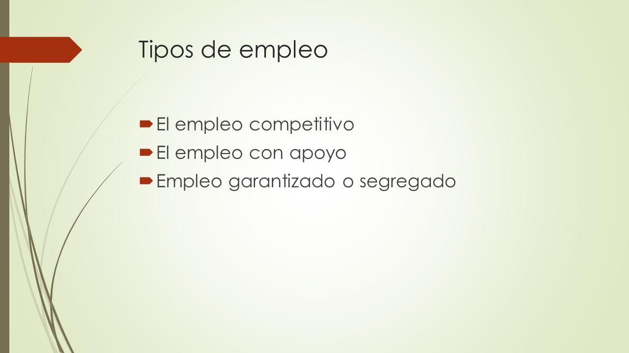 Tipos de empleo El empleo competitivo El empleo con apoyo Empleo garantizado o segregado