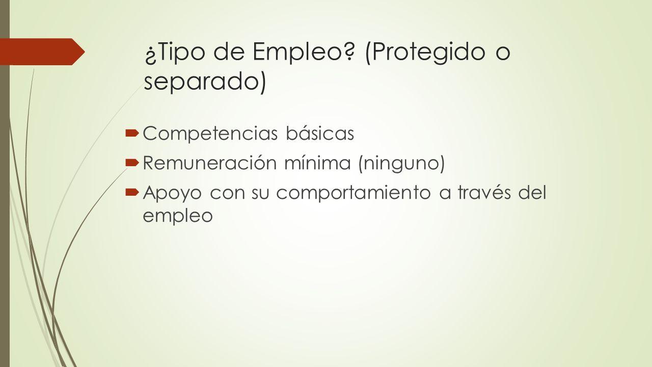 ¿Tipo de Empleo? (Protegido o separado) Competencias básicas Remuneración mínima (ninguno) Apoyo con su comportamiento a través del empleo