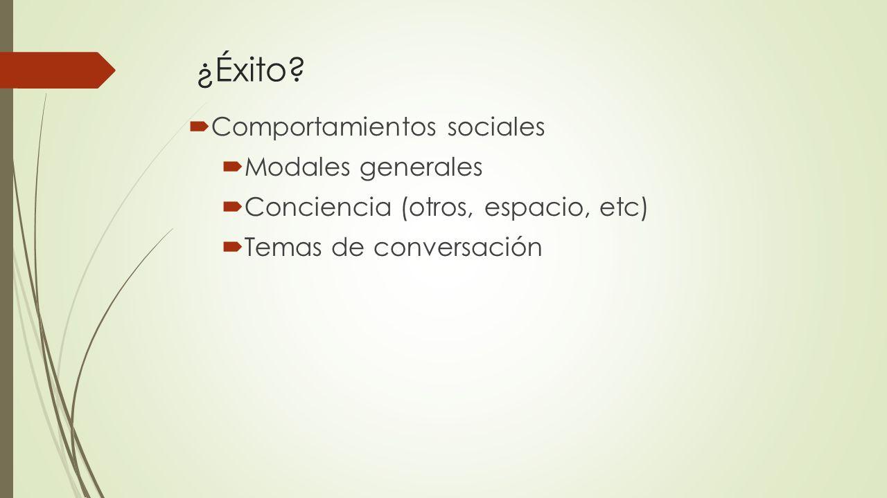 ¿Éxito? Comportamientos sociales Modales generales Conciencia (otros, espacio, etc) Temas de conversación