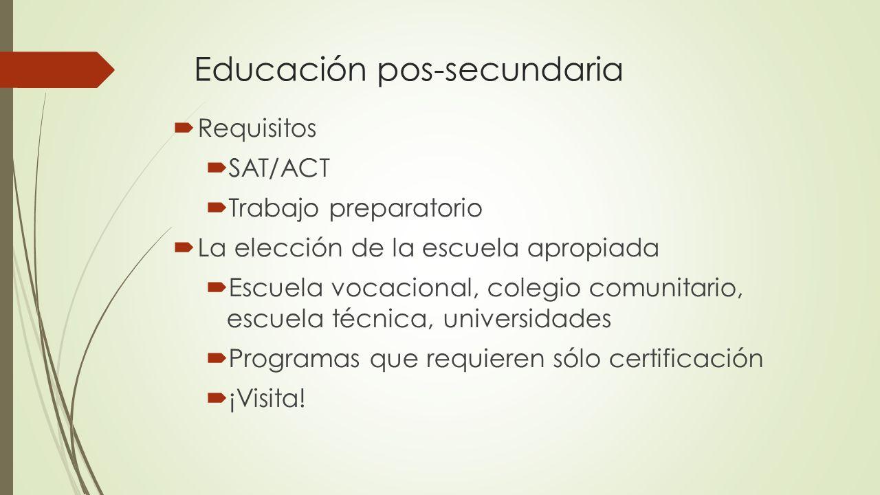 Educación pos-secundaria Requisitos SAT/ACT Trabajo preparatorio La elección de la escuela apropiada Escuela vocacional, colegio comunitario, escuela