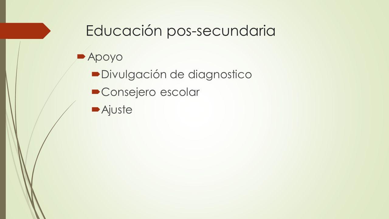 Educación pos-secundaria Apoyo Divulgación de diagnostico Consejero escolar Ajuste