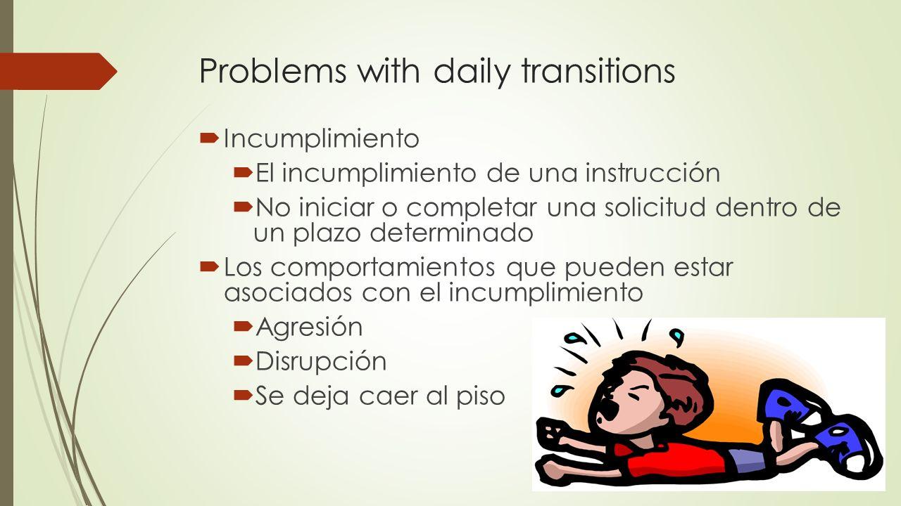 Problems with daily transitions Incumplimiento El incumplimiento de una instrucción No iniciar o completar una solicitud dentro de un plazo determinad