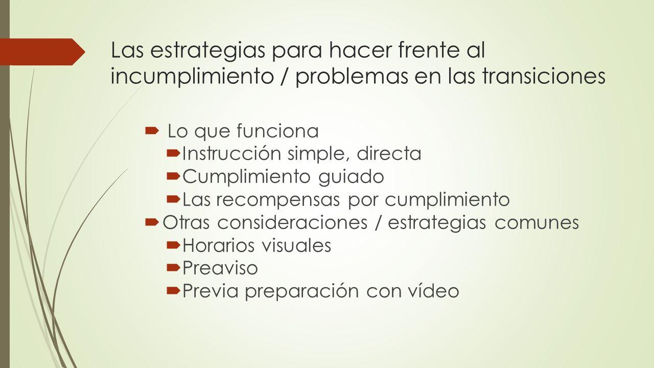 Las estrategias para hacer frente al incumplimiento / problemas en las transiciones Lo que funciona Instrucción simple, directa Cumplimiento guiado La