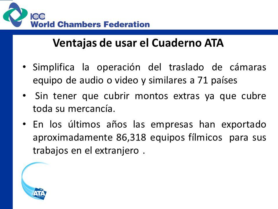 Ventajas de usar el Cuaderno ATA Simplifica la operación del traslado de cámaras equipo de audio o video y similares a 71 países Sin tener que cubrir