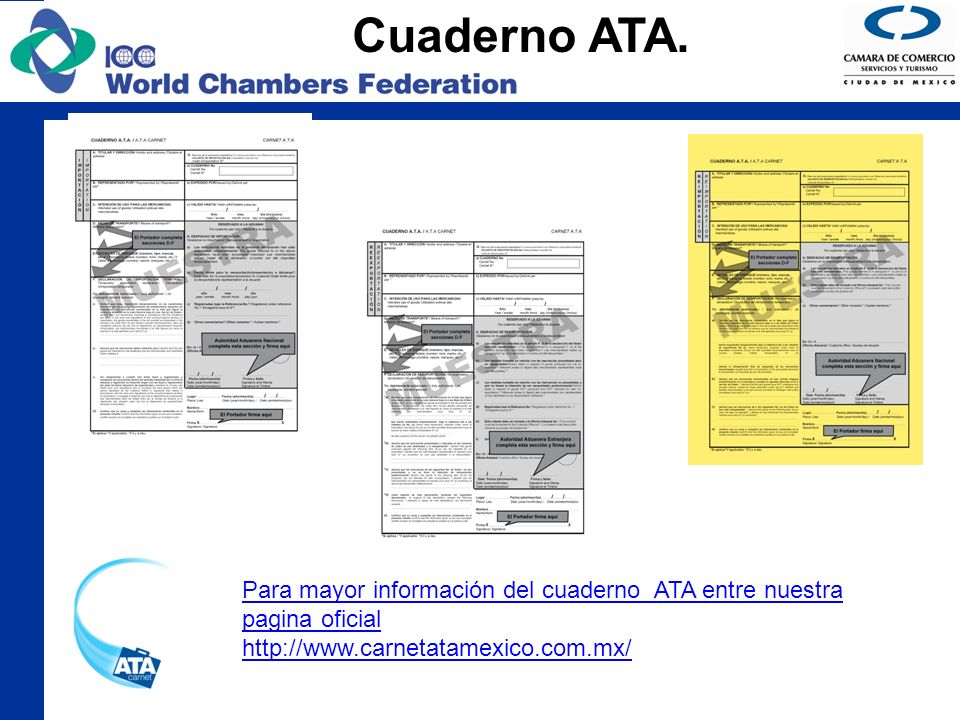 Cuaderno ATA. Para mayor información del cuaderno ATA entre nuestra pagina oficial http://www.carnetatamexico.com.mx/