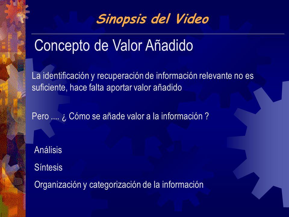Sinopsis del Video Concepto de Valor Añadido La identificación y recuperación de información relevante no es suficiente, hace falta aportar valor añadido Análisis Síntesis Organización y categorización de la información Pero....