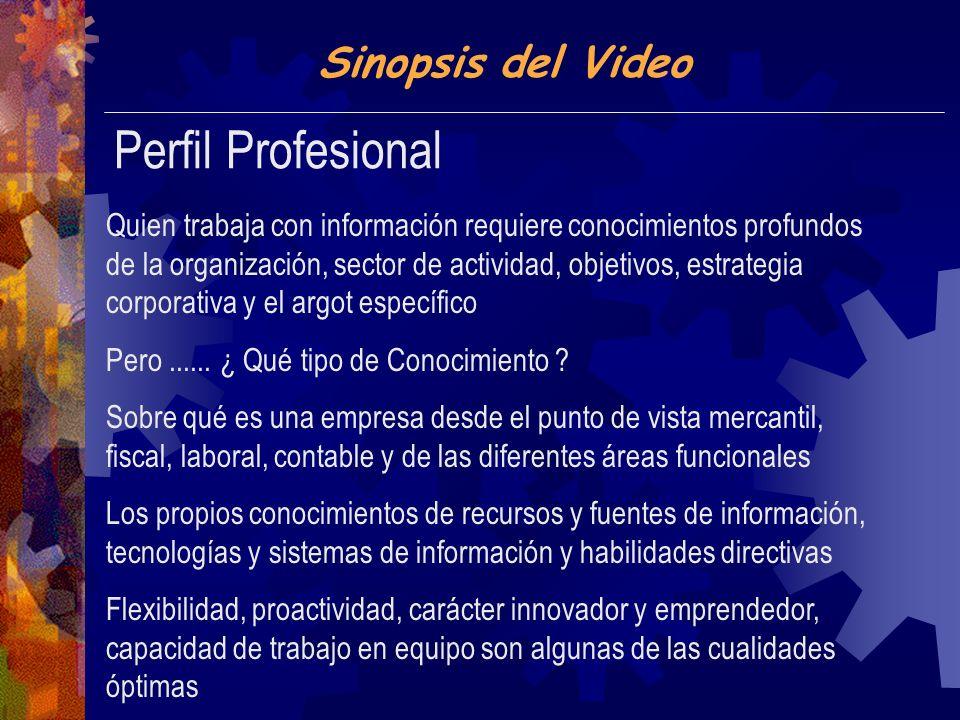 Sinopsis del Video Perfil Profesional Quien trabaja con información requiere conocimientos profundos de la organización, sector de actividad, objetivos, estrategia corporativa y el argot específico Pero......