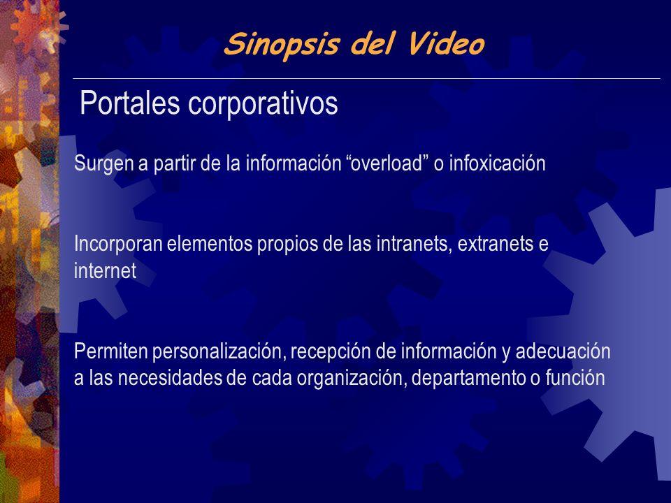 Sinopsis del Video Portales corporativos Surgen a partir de la información overload o infoxicación Incorporan elementos propios de las intranets, extranets e internet Permiten personalización, recepción de información y adecuación a las necesidades de cada organización, departamento o función