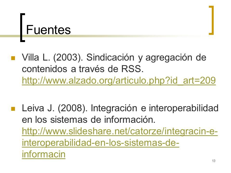 13 Fuentes Villa L. (2003). Sindicación y agregación de contenidos a través de RSS.