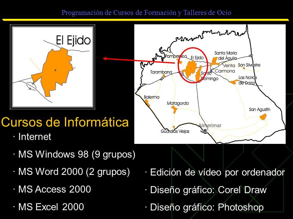 Programación de Cursos de Formación y Talleres de Ocio Cursos de Informática · Internet · MS Windows 98 (9 grupos) · MS Word 2000 (2 grupos) · MS Access 2000 · MS Excel 2000 · Edición de vídeo por ordenador · Diseño gráfico: Corel Draw · Diseño gráfico: Photoshop Almerimar