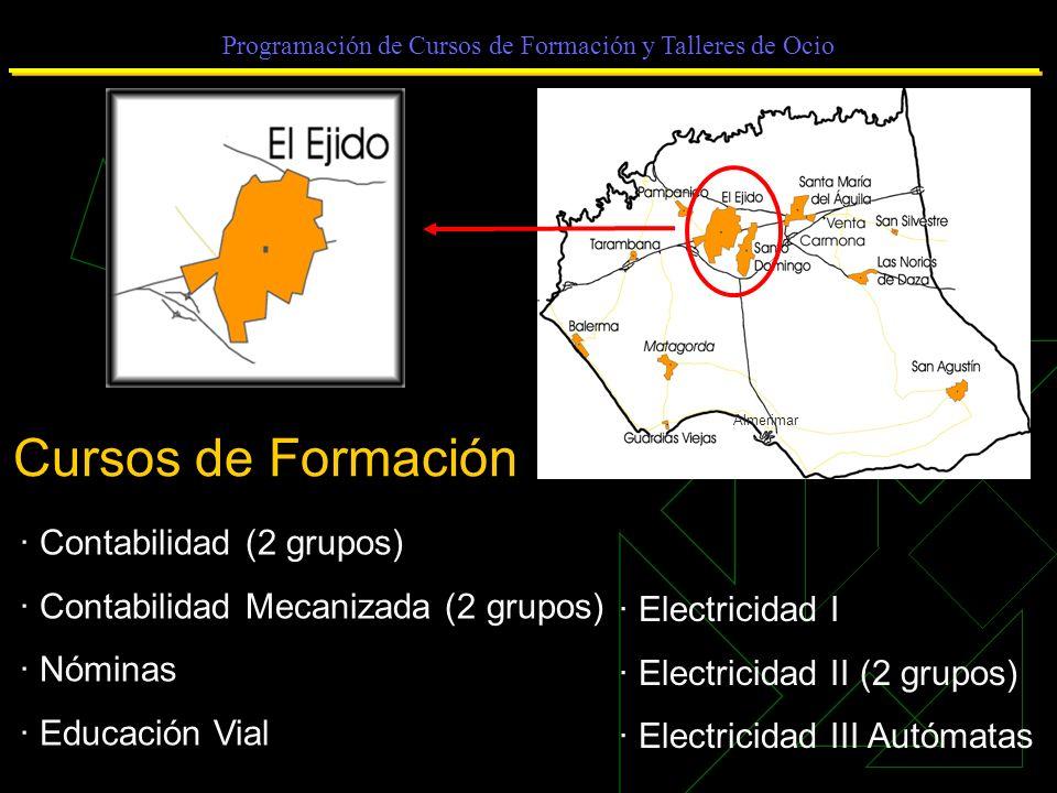 Programación de Cursos de Formación y Talleres de Ocio Cursos de Formación · Contabilidad (2 grupos) · Contabilidad Mecanizada (2 grupos) · Nóminas · Educación Vial · Electricidad I · Electricidad II (2 grupos) · Electricidad III Autómatas Almerimar