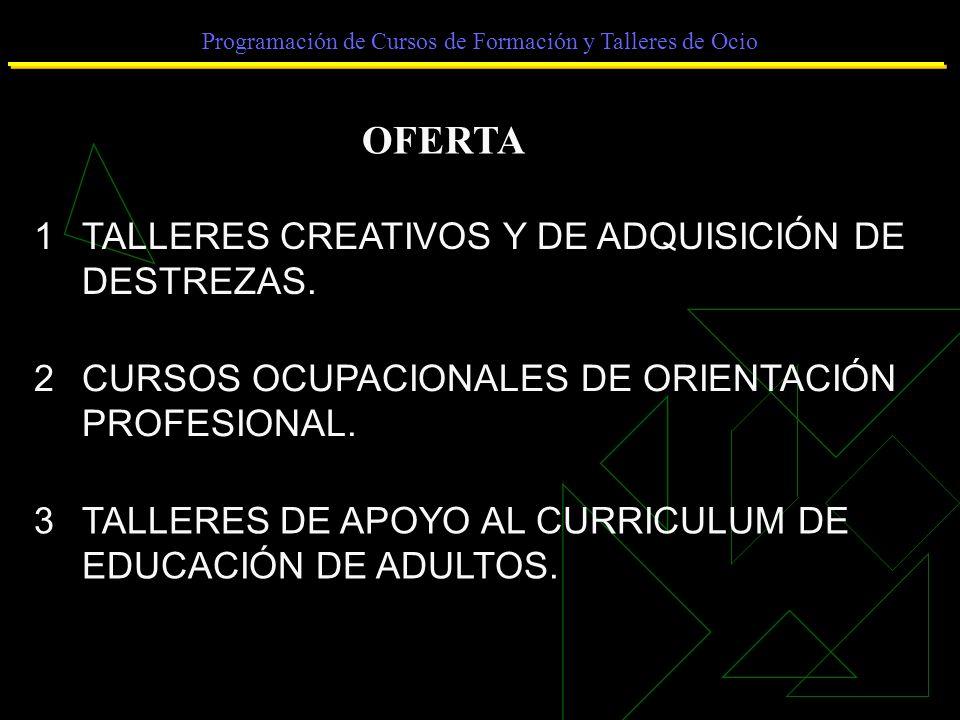 Programación de Cursos de Formación y Talleres de Ocio OFERTA 1TALLERES CREATIVOS Y DE ADQUISICIÓN DE DESTREZAS.