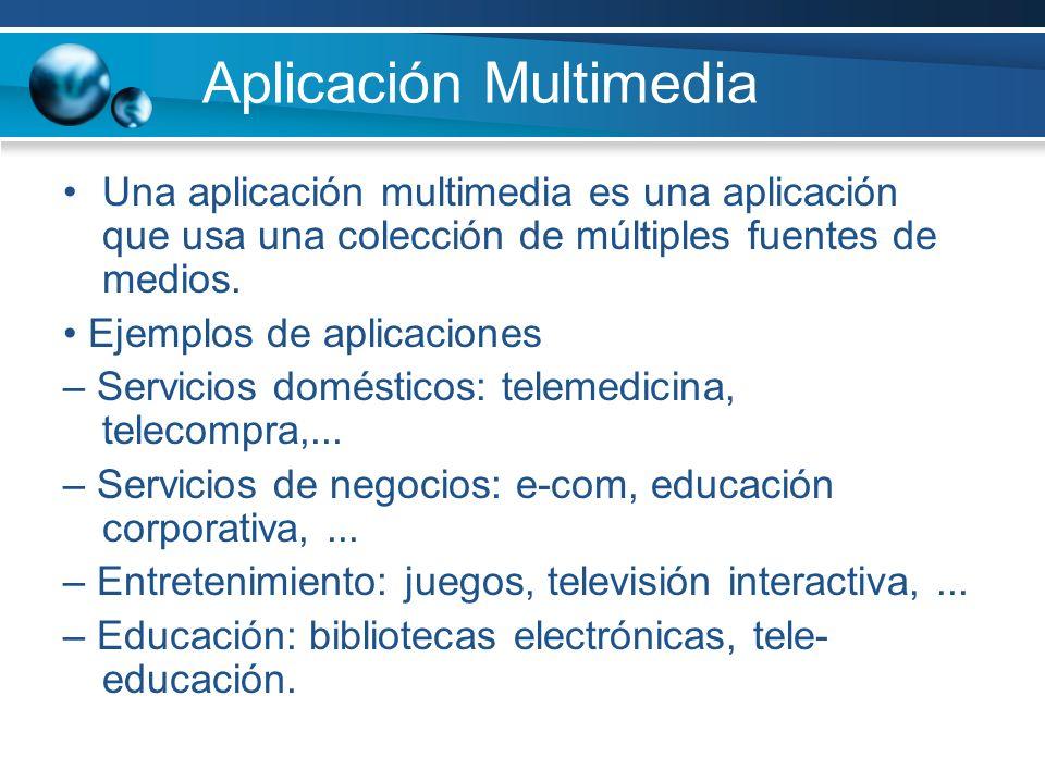 Aplicación Multimedia Una aplicación multimedia es una aplicación que usa una colección de múltiples fuentes de medios.