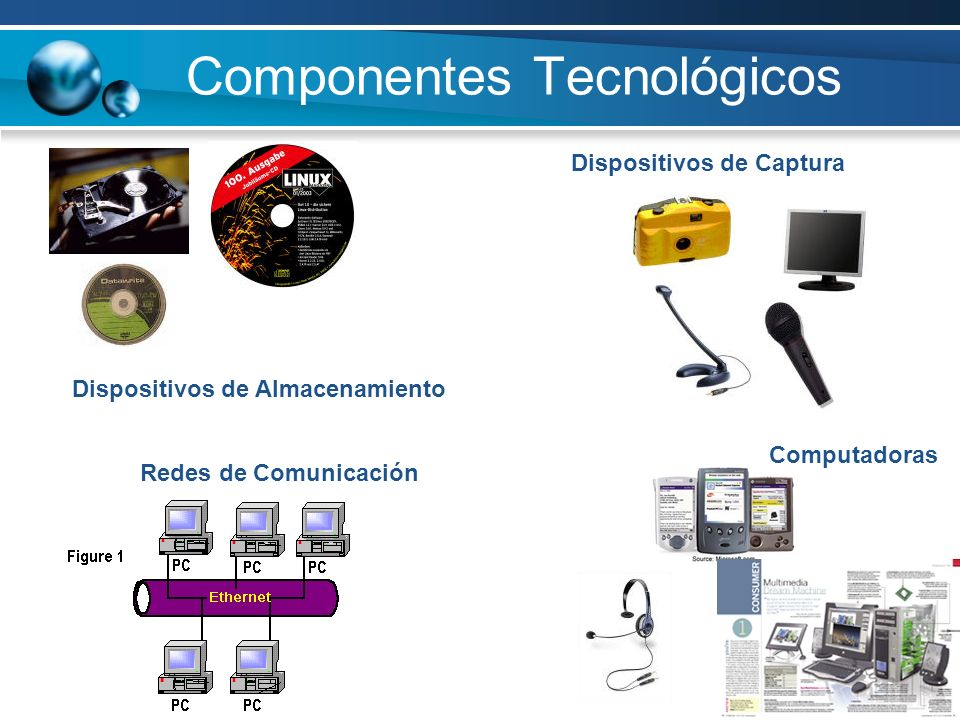 Componentes Tecnológicos Dispositivos de Captura Dispositivos de Almacenamiento Redes de Comunicación Computadoras