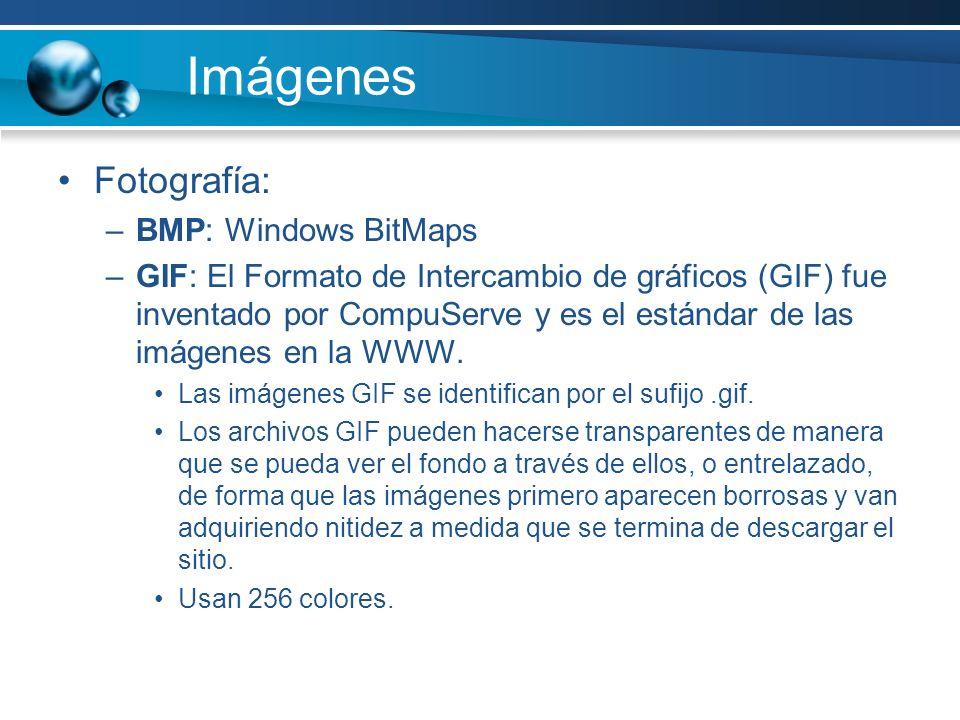 Imágenes Fotografía: –BMP: Windows BitMaps –GIF: El Formato de Intercambio de gráficos (GIF) fue inventado por CompuServe y es el estándar de las imágenes en la WWW.