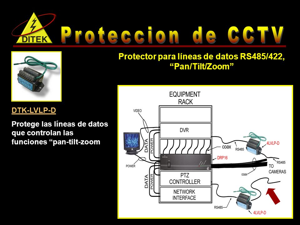 DTK-LVLP-D Protege las líneas de datos que controlan las funciones pan-tilt-zoom Protector para líneas de datos RS485/422, Pan/Tilt/Zoom