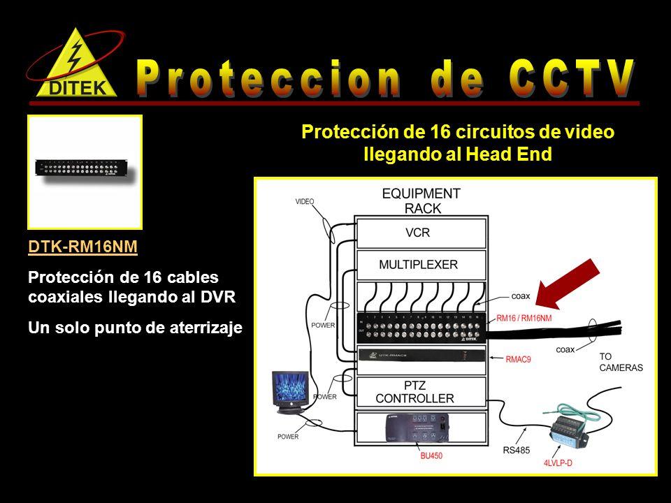 DTK-RM16NM Protección de 16 cables coaxiales llegando al DVR Un solo punto de aterrizaje Protección de 16 circuitos de video llegando al Head End
