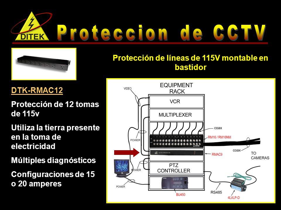 DTK-RMAC12 Protección de 12 tomas de 115v Utiliza la tierra presente en la toma de electricidad Múltiples diagnósticos Configuraciones de 15 o 20 amperes Protección de líneas de 115V montable en bastidor