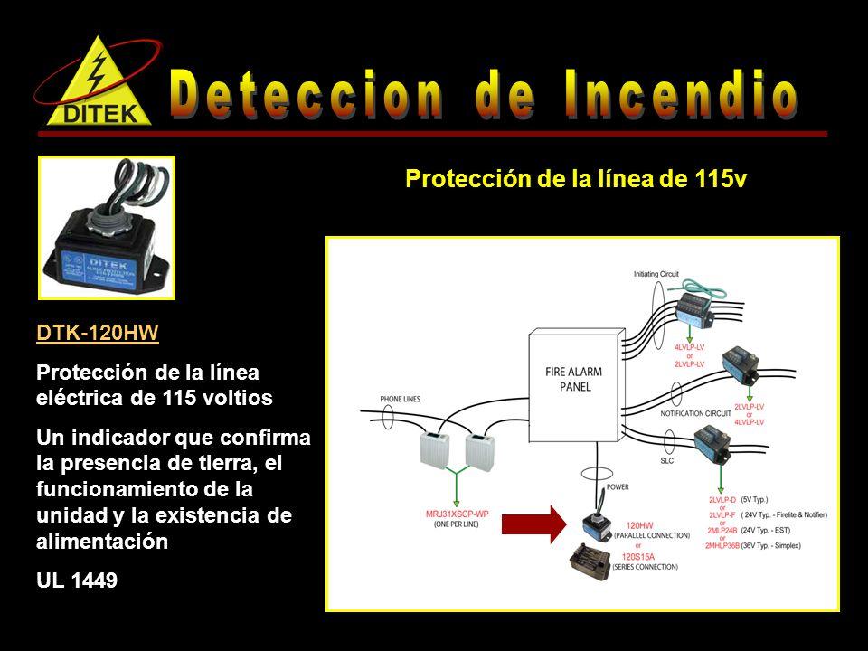 Protección de la línea de 115v DTK-120HW Protección de la línea eléctrica de 115 voltios Un indicador que confirma la presencia de tierra, el funcionamiento de la unidad y la existencia de alimentación UL 1449