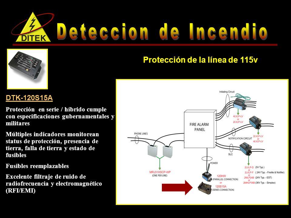 DTK-120S15A Protección en serie / híbrido cumple con especificaciones gubernamentales y militares Múltiples indicadores monitorean status de protección, presencia de tierra, falla de tierra y estado de fusibles Fusibles reemplazables Excelente filtraje de ruido de radiofrecuencia y electromagnético (RFI/EMI) Protección de la línea de 115v