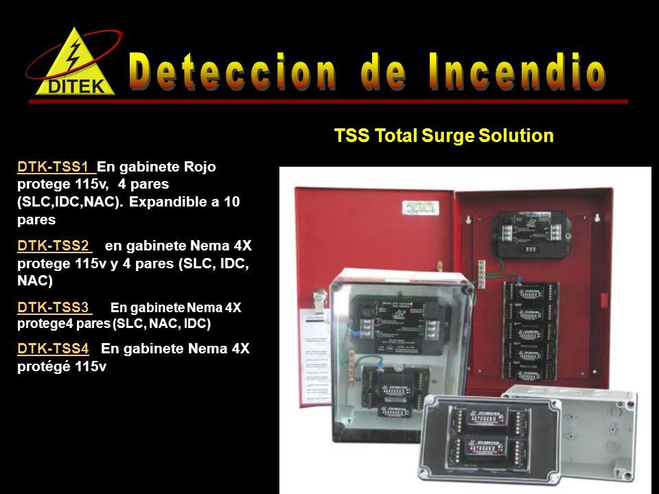 DTK-TSS1 En gabinete Rojo protege 115v, 4 pares (SLC,IDC,NAC).
