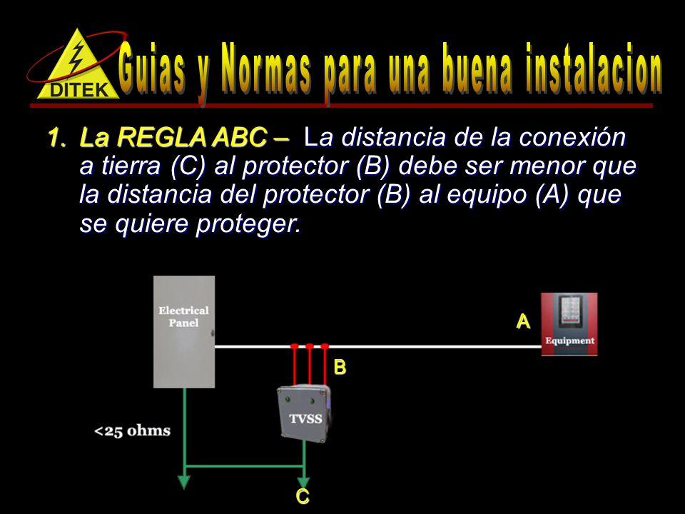 1.La REGLA ABC – La distancia de la conexión a tierra (C) al protector (B) debe ser menor que la distancia del protector (B) al equipo (A) que se quiere proteger.