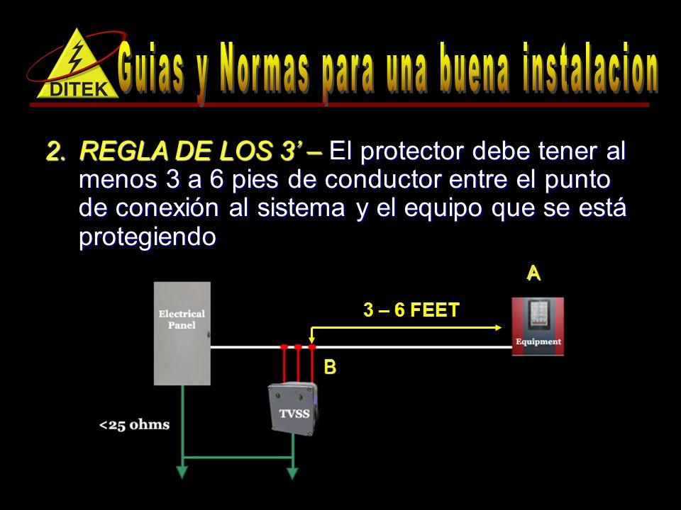 2.REGLA DE LOS 3 – El protector debe tener al menos 3 a 6 pies de conductor entre el punto de conexión al sistema y el equipo que se está protegiendo 3 – 6 FEET B A