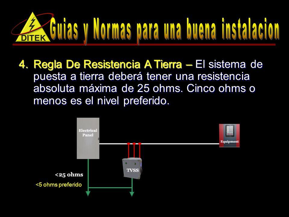 4.Regla De Resistencia A Tierra – El sistema de puesta a tierra deberá tener una resistencia absoluta máxima de 25 ohms.