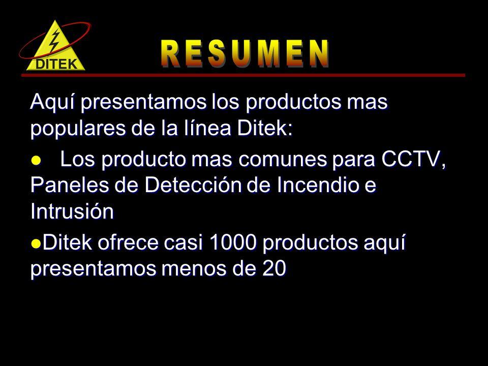 Aquí presentamos los productos mas populares de la línea Ditek: Los producto mas comunes para CCTV, Paneles de Detección de Incendio e Intrusión Los producto mas comunes para CCTV, Paneles de Detección de Incendio e Intrusión Ditek ofrece casi 1000 productos aquí presentamos menos de 20 Ditek ofrece casi 1000 productos aquí presentamos menos de 20