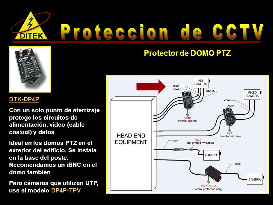 DTK-DP4P Con un solo punto de aterrizaje protege los circuitos de alimentación, video (cable coaxial) y datos Ideal en los domos PTZ en el exterior del edificio.