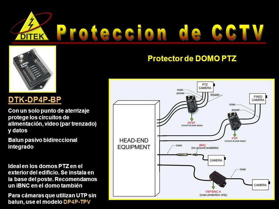 DTK-DP4P-BP Con un solo punto de aterrizaje protege los circuitos de alimentación, video (par trenzado) y datos Balun pasivo bidireccional integrado Ideal en los domos PTZ en el exterior del edificio.