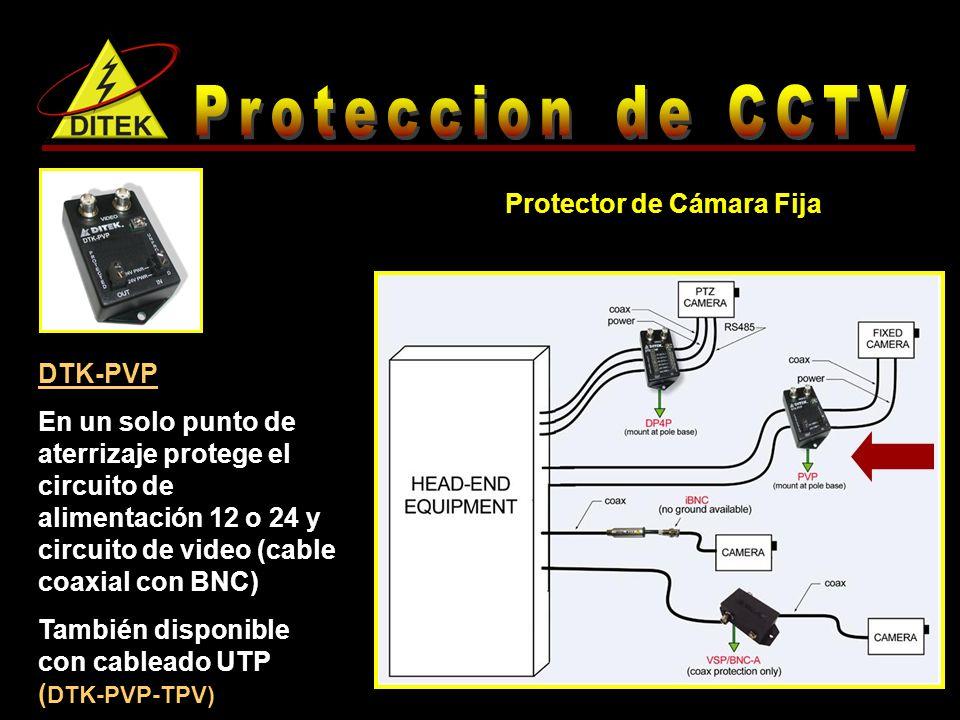 DTK-PVP En un solo punto de aterrizaje protege el circuito de alimentación 12 o 24 y circuito de video (cable coaxial con BNC) También disponible con cableado UTP ( DTK-PVP-TPV) Protector de Cámara Fija