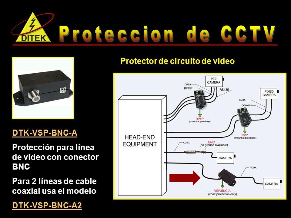DTK-VSP-BNC-A Protección para línea de video con conector BNC Para 2 líneas de cable coaxial usa el modelo DTK-VSP-BNC-A2 Protector de circuito de video