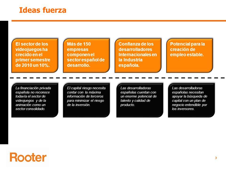Ideas fuerza 3 El sector de los videojuegos ha crecido en el primer semestre de 2010 un 10%. La financiación privada española no reconoce todavía el s