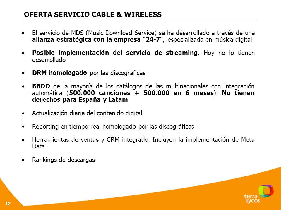 12 OFERTA SERVICIO CABLE & WIRELESS El servicio de MDS (Music Download Service) se ha desarrollado a través de una alianza estratégica con la empresa 24-7, especializada en música digital Posible implementación del servicio de streaming.