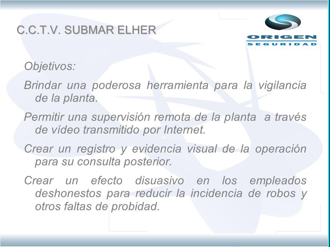 C.C.T.V.SUBMAR ELHER Objetivos: Brindar una poderosa herramienta para la vigilancia de la planta.