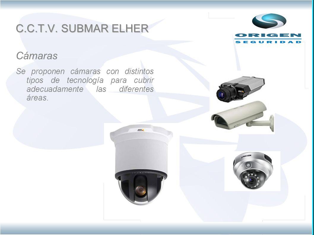 C.C.T.V. SUBMAR ELHER Cámaras Se proponen cámaras con distintos tipos de tecnología para cubrir adecuadamente las diferentes áreas.