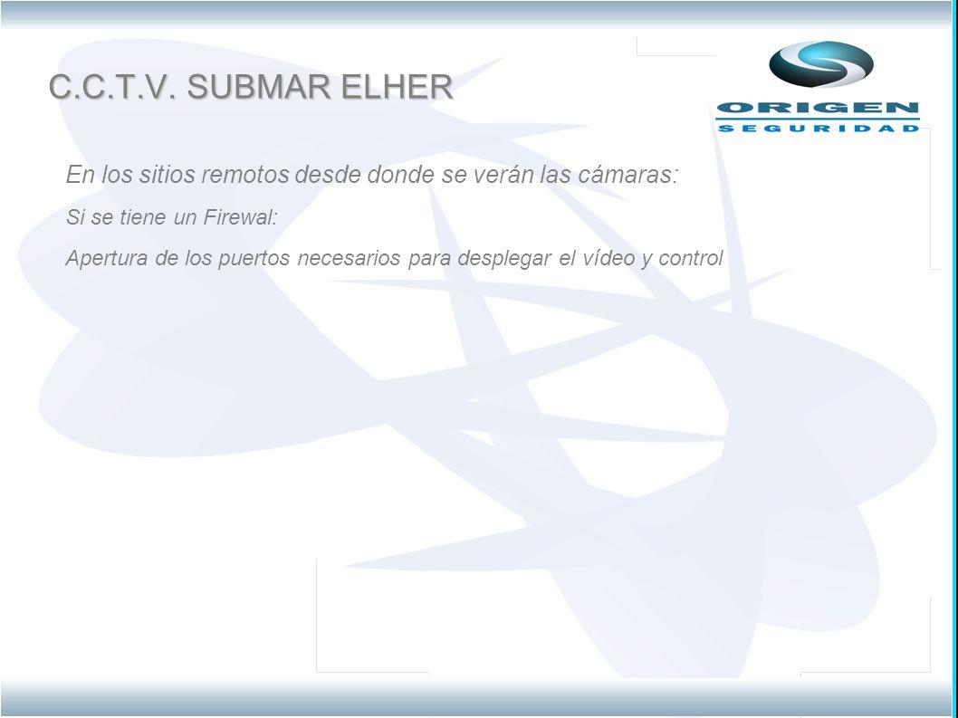 C.C.T.V. SUBMAR ELHER En los sitios remotos desde donde se verán las cámaras: Si se tiene un Firewal: Apertura de los puertos necesarios para desplega