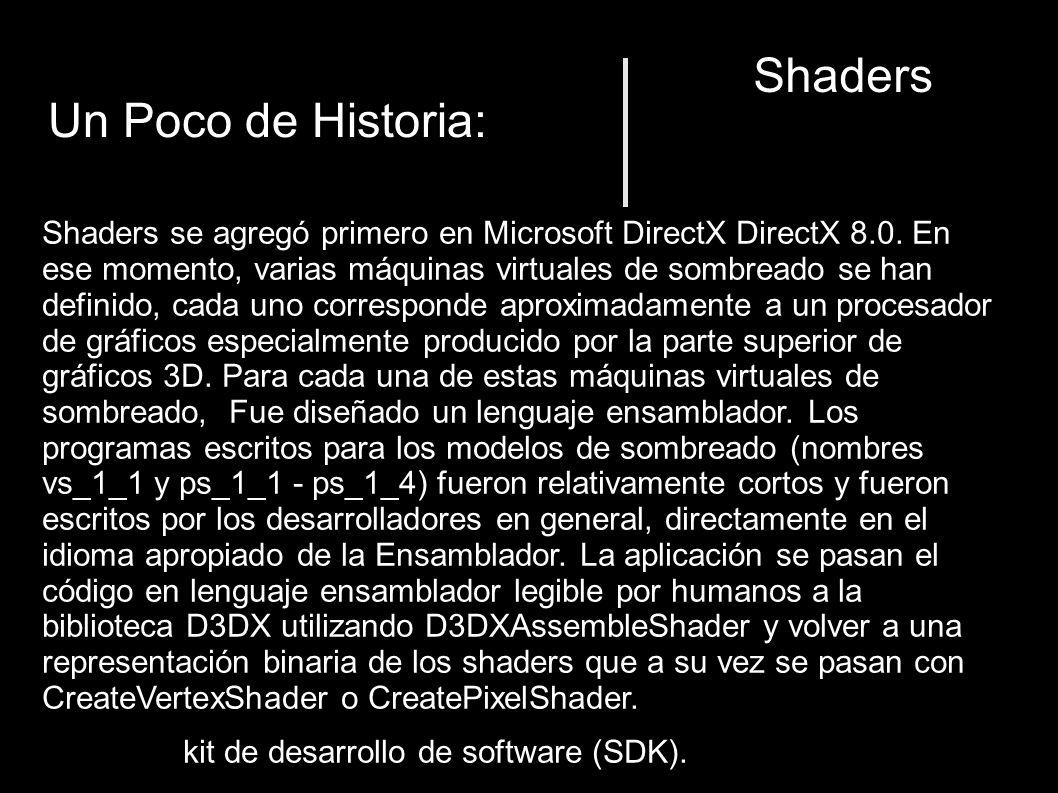 Shaders Un Poco de Historia: Shaders se agregó primero en Microsoft DirectX DirectX 8.0. En ese momento, varias máquinas virtuales de sombreado se han