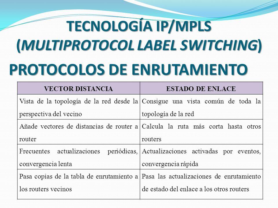 TECNOLOGÍA IP/MPLS (MULTIPROTOCOL LABEL SWITCHING) PROTOCOLOS DE ENRUTAMIENTO VECTOR DISTANCIAESTADO DE ENLACE Vista de la topología de la red desde la perspectiva del vecino Consigue una vista común de toda la topología de la red Añade vectores de distancias de router a router Calcula la ruta más corta hasta otros routers Frecuentes actualizaciones periódicas, convergencia lenta Actualizaciones activadas por eventos, convergencia rápida Pasa copias de la tabla de enrutamiento a los routers vecinos Pasa las actualizaciones de enrutamiento de estado del enlace a los otros routers