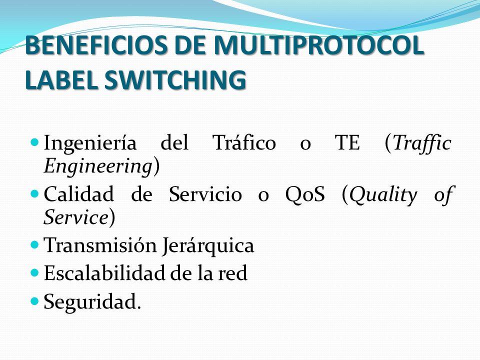 BENEFICIOS DE MULTIPROTOCOL LABEL SWITCHING Ingeniería del Tráfico o TE (Traffic Engineering) Calidad de Servicio o QoS (Quality of Service) Transmisión Jerárquica Escalabilidad de la red Seguridad.