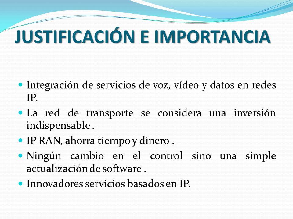 JUSTIFICACIÓN E IMPORTANCIA Integración de servicios de voz, vídeo y datos en redes IP.