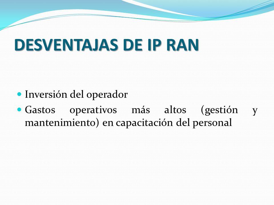 DESVENTAJAS DE IP RAN Inversión del operador Gastos operativos más altos (gestión y mantenimiento) en capacitación del personal