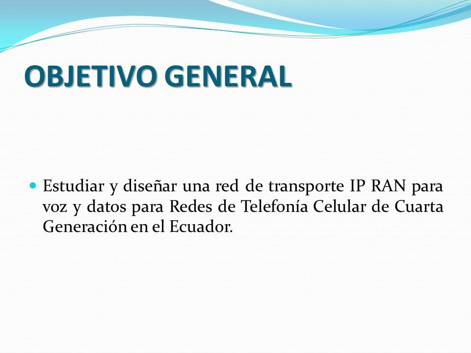 OBJETIVO GENERAL Estudiar y diseñar una red de transporte IP RAN para voz y datos para Redes de Telefonía Celular de Cuarta Generación en el Ecuador.