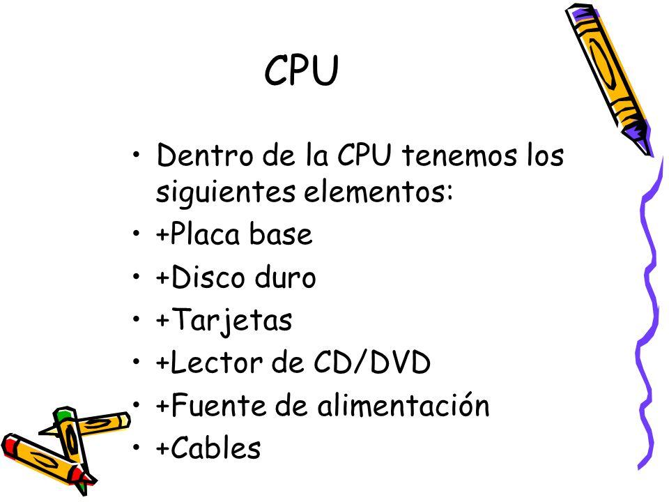 Dentro de la CPU tenemos los siguientes elementos: +Placa base +Disco duro +Tarjetas +Lector de CD/DVD +Fuente de alimentación +Cables