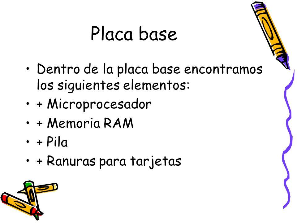 Dentro de la placa base encontramos los siguientes elementos: + Microprocesador + Memoria RAM + Pila + Ranuras para tarjetas
