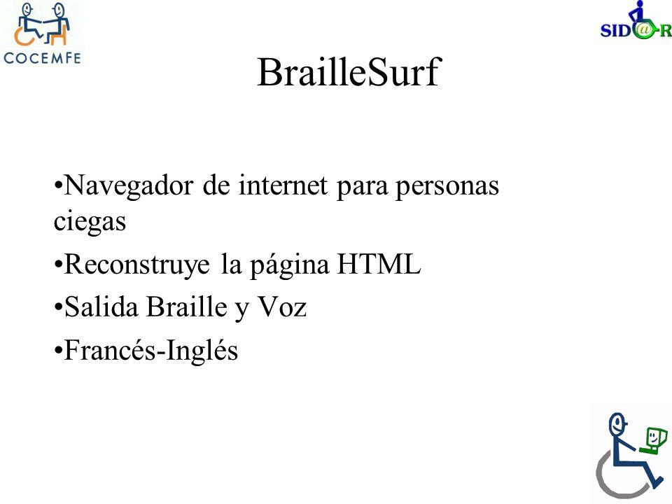 BrailleSurf Navegador de internet para personas ciegas Reconstruye la página HTML Salida Braille y Voz Francés-Inglés